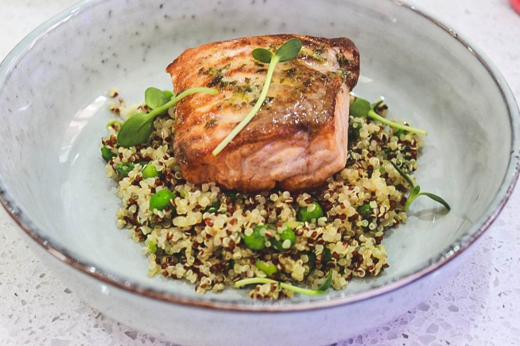 relaxing sunday lunch with fresh salmon and quinoa salad